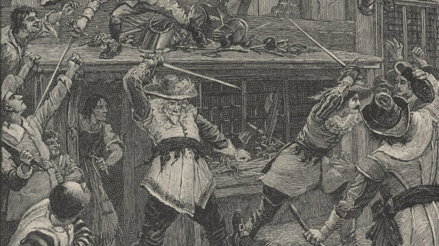 The Peverils and the Dwarf Attacked by a Crowd